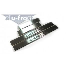 Накладки на пороги Alu-Frost - Citroen C-Crosser 2007+ (ком.)
