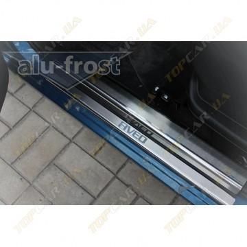 Накладки на пороги Alu-Frost - Chevrolet Aveo I/II 5D 2002+ (комплект)